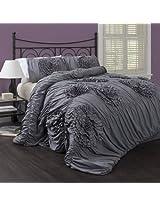 Lush Decor Serena 3-Piece Comforter Set, King, Gray