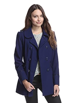 Kensie Women's Wool Coat with Faux Leather Trim (Midnight)