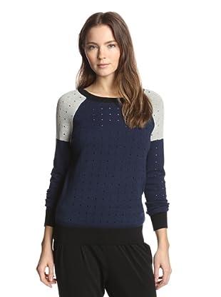 Shae Women's Perforated Stitch Raglan Pullover (Deep Navy)