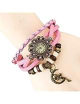 Eleganzza Designer Bracelet Wrist Watch For Women - Moongirl pink