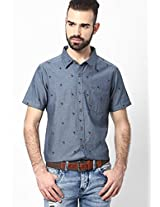 Blue Printed Slim Fit Casual Shirt FREECULTR