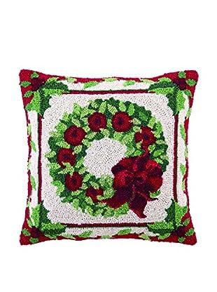 Peking Handicraft Fruit & Foliage Wreath Throw Pillow, Red/Green