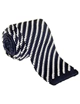 "Retreez Smart Casual Retro Stripes Men's 2.4"" Skinny Knit Tie - Navy Blue with White"