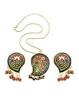 "Aakshi Necklace ""Colourful Flower With Leaf shape"" Necklace Set"