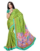 Chinco Saree With Blouse Piece (P1002-C_Green)