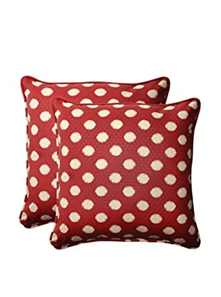 Outdoor Solar Spot Henna Square Corded Toss Pillows (Red/Tan)
