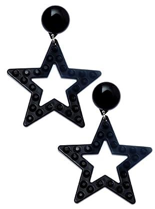Lola Casademunt Pendientes Estrellas Brillantes Meta negro