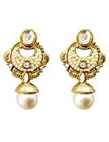 Dhwani Creation Alloy Drop Earrings for Women and Girls (White)