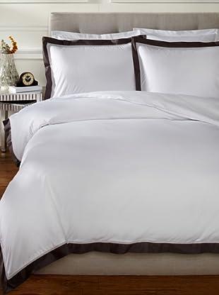 Mason Street Textiles Hotel Cuff Duvet Set (White/Charcoal)