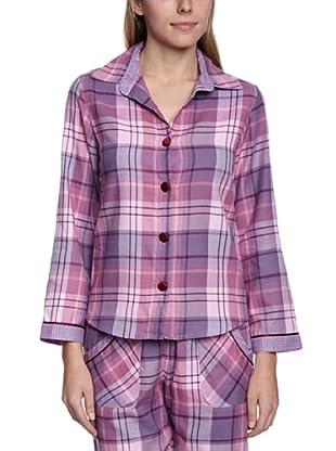 Cyberjammies Camisa De Pijama Black Berry Blush Checks (Lila)