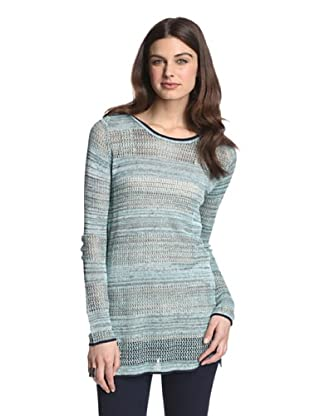525 America Women's Jersey Mesh Tweed Tunic (Blue Combo)