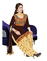 Salwar Studio Brown & Fawn Cotton Dress Material with Dupatta Royal Patiyala-5008