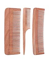TULIR Neem Wood Comb, Combo of 3 (4 - 7 - 9 Inches)