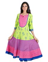 eSTYLe Spectra Green 'N Pink Cotton Printed Anarkali