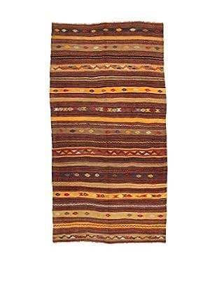Design Community By Loomier Teppich Kilim Caucasico braun/gelb 136 x 266 cm