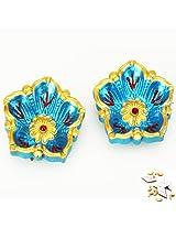 Ghasitaram Gifts Set of Two Flower Diyas with 400 gms kaju Katli