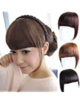 Lady Clip On False Bang Neat Fringe Hairpiece Hair Extensions Headwear Pp01 (Dark Brown)