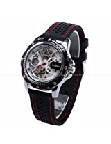 WINNER Skeleton Mens Automatic Mechanical Black Silicone Band Sport Wrist Watch