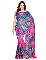 Admyrin Pink Georgette Saree with Navy Blue Blouse Piece