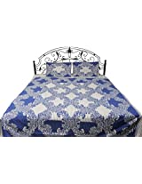 Exotic India Gray and Blue Bedspread from Pilkhuwa with Printed Flowers - Pure Cotton with Pillow Ca