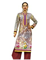 Admyrin Multi Colour Cotton Digital Print Salwar Kameez with Maroon Dupatta