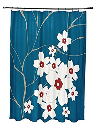 e by design Floral Shower Curtain, Blue/Red