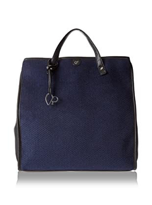 Charlotte Ronson Women's Patent/Herringbone Wool Backpack, Blue/Pebble