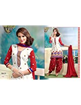 Fabboom Red And White Colour Designer Cambric Cotton Patiyala Suit