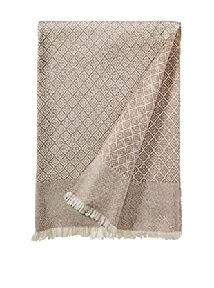 a & R Cashmere Wool & Cashmere Designer Diamond Throw, Creme/Sand