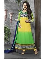 Kashish Green Yellow Semi Stiched Designer Anarkali Suit