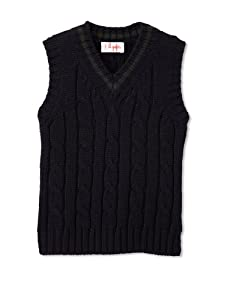Il Gufo Boy's Cable Knit Sweater Vest (Navy)