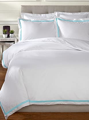 Mason Street Textiles Two Cord Duvet Set (White/Artic Blue)