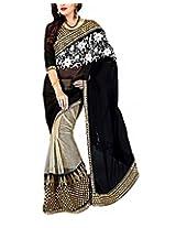 Rajlaxmi Women's Georgette Saree (Black)