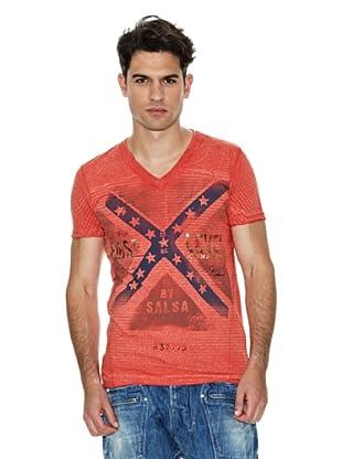 Salsa Camiseta Estampado Frontal (Rojo)