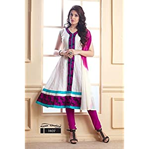 Designer White and Pink Anarkali Salwar Suit