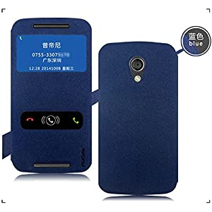 Pudini GoldSand Seried Flip Case Cover for Moto G2 Moto G 2nd gen XT1068 - Blue - Free Clear Screenguard