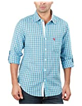 REIGN OF FASHION Men's Casual Shirt (500026, Bluish Checks, 3X-Large)