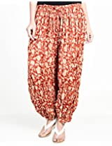 Cotton Printed Crinkle Harem Pant-L/XL-Red