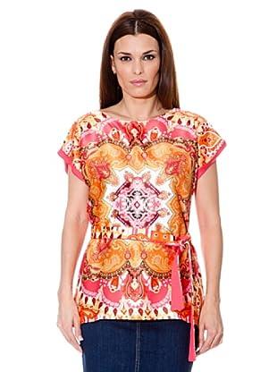 Cortefiel Camiseta Cinturón (Rosa / Naranja)
