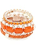 Young & Forever Tropical Summer Tangerine Stack 'em up Orange Bangle Bracelet For Women by CrazeeMania
