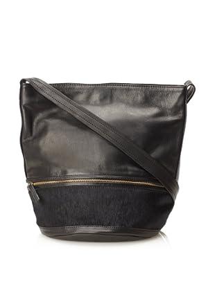 Hare + Hart Women's Haircalf Small Bucket Bag (Black/Black)
