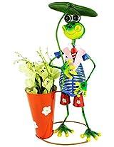 Green Girgit Metal Tall Frog Holding Umbrella Planter, 30 cm x 18 cm x 53.0 cm, 1 Piece
