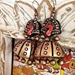 Bronze and red peacock Design very large jhumkas