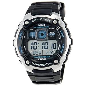 Casio Youth World Timer Digital Black Dial Men's Watch - AE-2000W-1AVDF (D083)