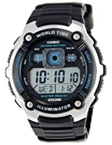 Casio Youth World Timer Digital Black Dial Men's Watch - AE-2000W-1AVDF (D083)