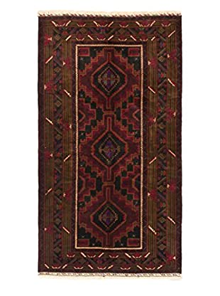 eCarpet Gallery One-of-a-Kind Hand-Knotted Rizbaft Rug, Black/Dark Red, 3' 10