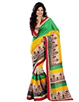 Riti Riwaz Green & Yellow Chapa Silk Printed saree with unstitched blouse RPS6202B