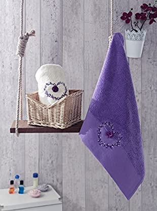 Homemania Handtuch 2er Set Risus purpur 50 x 90 cm
