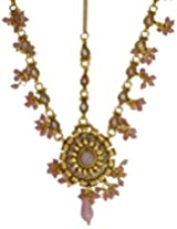 Pink Matha-Patti with Cut Glass - jeweled-hair-ornament - Copper Alloy with Cut Glass