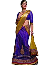 MELLUHA Purple Net Embroidered Butti Work Lehenga